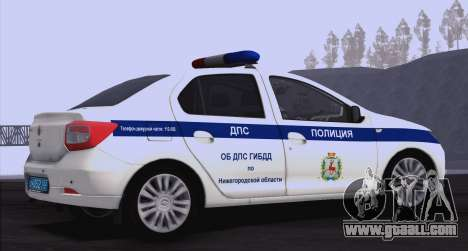 Renault Logan ABOUT traffic police for GTA San Andreas right view