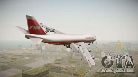 Boeing 747 TWA Solid Titles Livery for GTA San Andreas left view