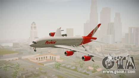 Airbus A380 Avior Airlines for GTA San Andreas back left view