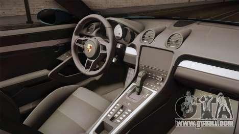 Porsche 718 Boxster S Cabrio for GTA San Andreas inner view