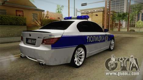 BMW M5 a e60 Police for GTA San Andreas back left view