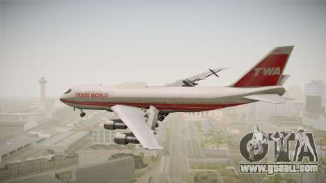Boeing 747 TWA Solid Titles Livery for GTA San Andreas right view