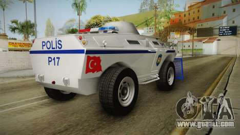 Turkish Police APC with Water Cannon for GTA San Andreas back left view