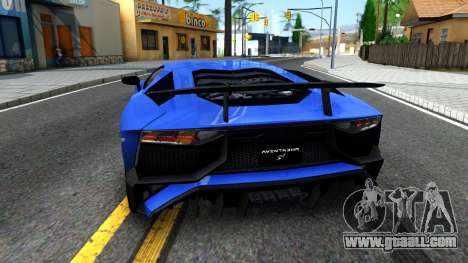 Lamborghini Aventador SV 2015 for GTA San Andreas back left view