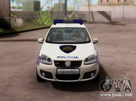 Golf V Croatian Police Car for GTA San Andreas inner view