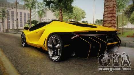 Lamborghini Centenario Roadster for GTA San Andreas back left view
