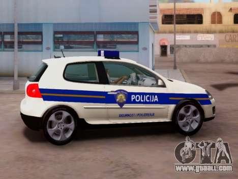 Golf V Croatian Police Car for GTA San Andreas left view