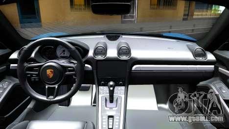 Porsche 718 Boxster S 2017 for GTA San Andreas inner view