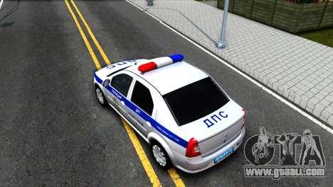 Renault Logan Russian Police for GTA San Andreas back view