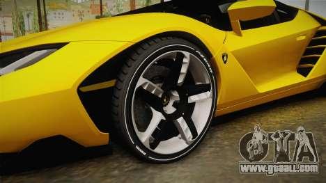 Lamborghini Centenario Roadster for GTA San Andreas back view