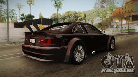BMW M3 E46 2005 NFS: MW Livery for GTA San Andreas back left view