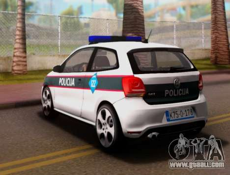 Volkswagen Polo GTI BIH Police Car for GTA San Andreas back left view