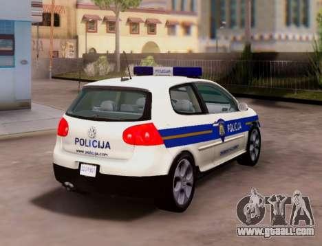 Golf V Croatian Police Car for GTA San Andreas back left view