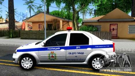 Renault Logan Russian Police for GTA San Andreas left view