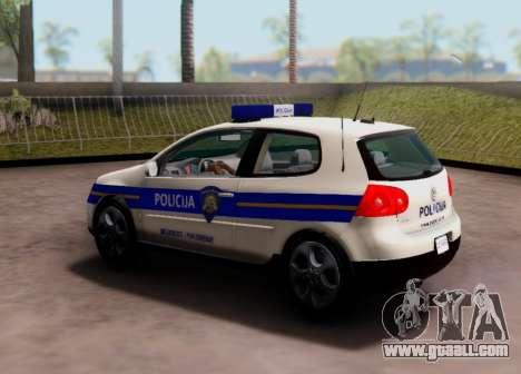 Golf V Croatian Police Car for GTA San Andreas back view