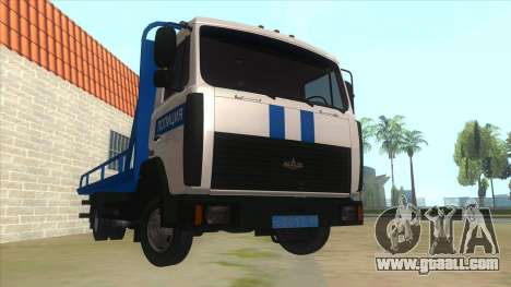 MAZ Tow truck Police for GTA San Andreas back view