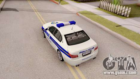 BMW M5 E60 Croatian Police Car for GTA San Andreas back view