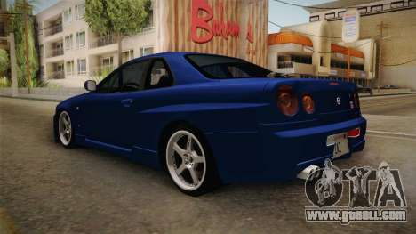 Nissan Skyline GT-R34 Tunable for GTA San Andreas back left view