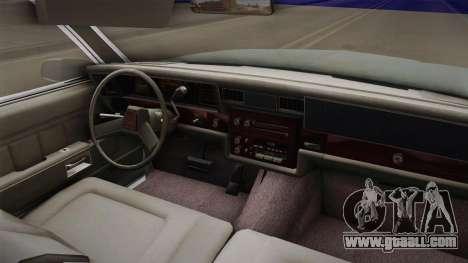 Chevrolet Caprice 1985 Stock for GTA San Andreas inner view