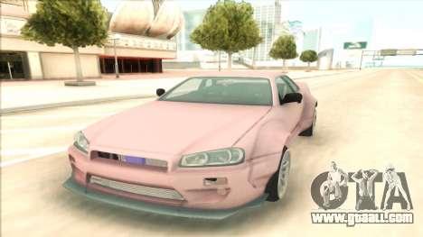 Nissan Skyline R34 RocketBunny for GTA San Andreas back view