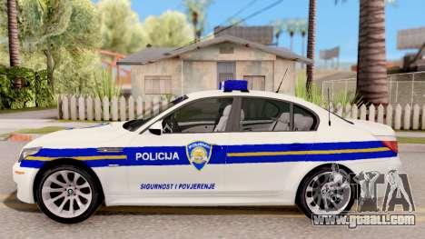 BMW M5 E60 Croatian Police Car for GTA San Andreas left view