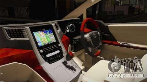 Toyota Alphard 3.5G 2015 v2 for GTA San Andreas inner view