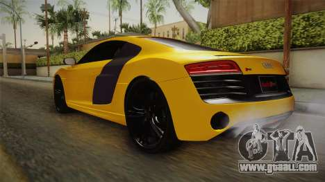 Audi R8 V10 Plus Coupe for GTA San Andreas back left view
