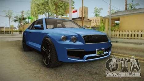 GTA 5 Enus Huntley Coupè for GTA San Andreas back left view