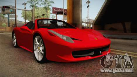 Ferrari 458 Spider for GTA San Andreas back view