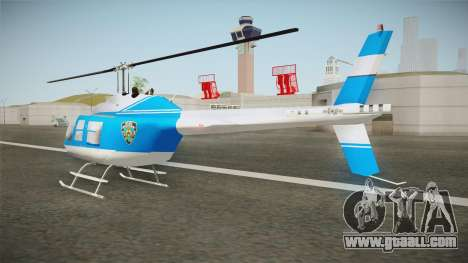 Bell 206 NYPD Helicopter for GTA San Andreas back left view