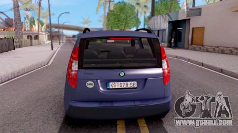 Skoda Roomster Stock for GTA San Andreas back left view