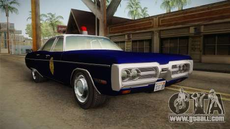 Plymouth Fury 1969 Kansas State Police for GTA San Andreas right view