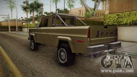 Jeep J-10 Comanche for GTA San Andreas back left view