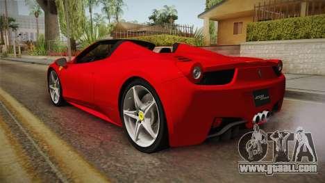 Ferrari 458 Spider for GTA San Andreas back left view