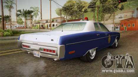 Plymouth Fury 1969 Kansas State Police for GTA San Andreas back left view