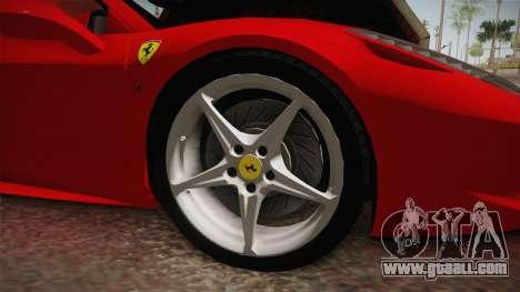 Ferrari 458 Spider for GTA San Andreas inner view