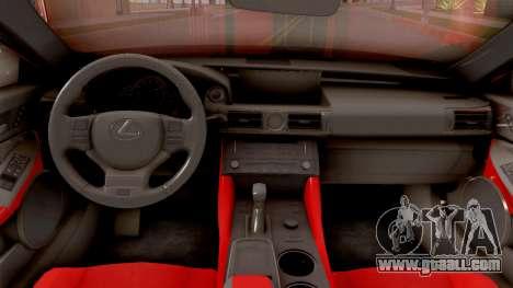 Lexus RC F for GTA San Andreas inner view
