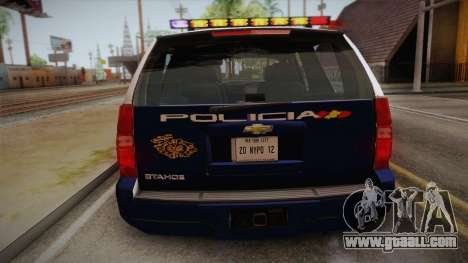 Chevrolet Tahoe Spanish Police for GTA San Andreas back view