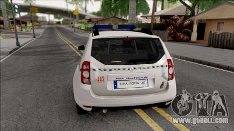 Renault Duster Spanish Police for GTA San Andreas back left view