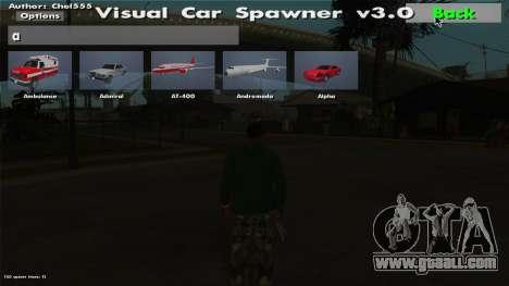 Visual Car Spawner v3.0 for GTA San Andreas third screenshot