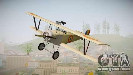 Nieuport 11 Bebe - Nr.1249 Romania for GTA San Andreas back left view