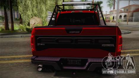 Ford F-150 Raptor 2017 for GTA San Andreas back view