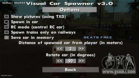 Visual Car Spawner v3.0 for GTA San Andreas fifth screenshot