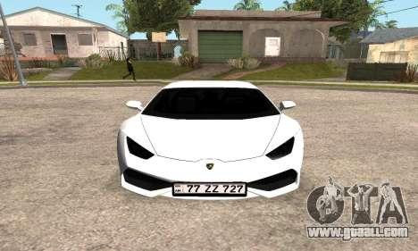 Lamborghini Huracan 2014 Armenian for GTA San Andreas left view