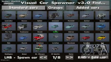 Visual Car Spawner v3.0 for GTA San Andreas second screenshot