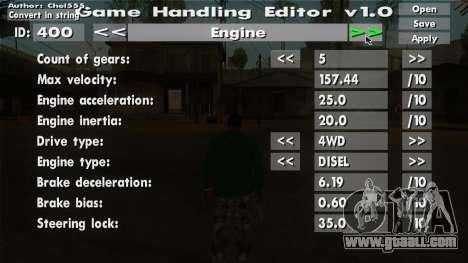 Game Handling Editor v1 0 for GTA San Andreas