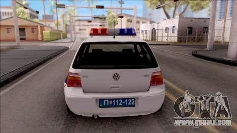 Volkswagen Golf 4 GTI Policija for GTA San Andreas back left view