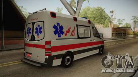 Mercedes-Benz Sprinter Iranian Ambulance for GTA San Andreas right view
