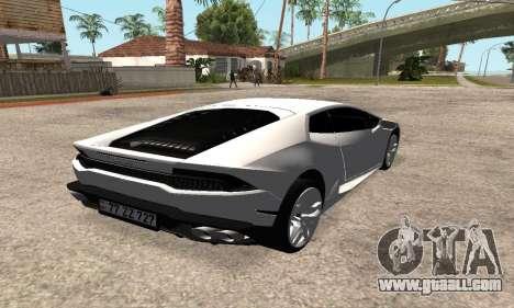 Lamborghini Huracan 2014 Armenian for GTA San Andreas back left view