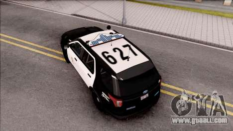 Ford Explorer Police Interception for GTA San Andreas back view